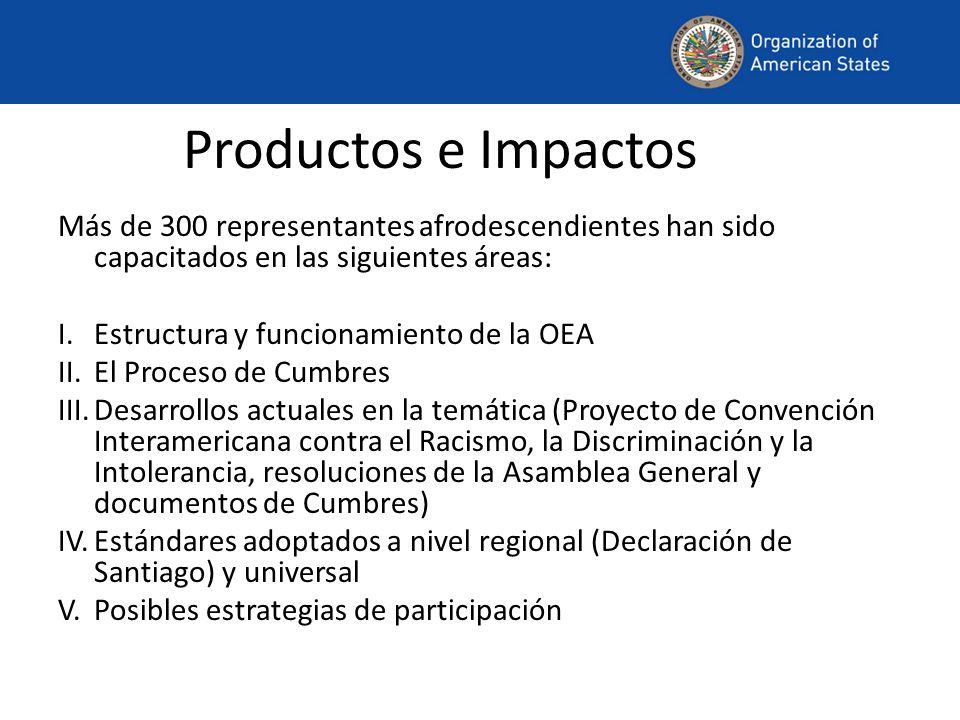 Productos e Impactos Más de 300 representantes afrodescendientes han sido capacitados en las siguientes áreas: I.Estructura y funcionamiento de la OEA