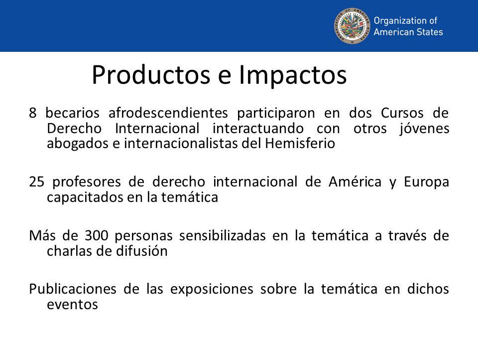 Productos e Impactos 8 becarios afrodescendientes participaron en dos Cursos de Derecho Internacional interactuando con otros jóvenes abogados e inter
