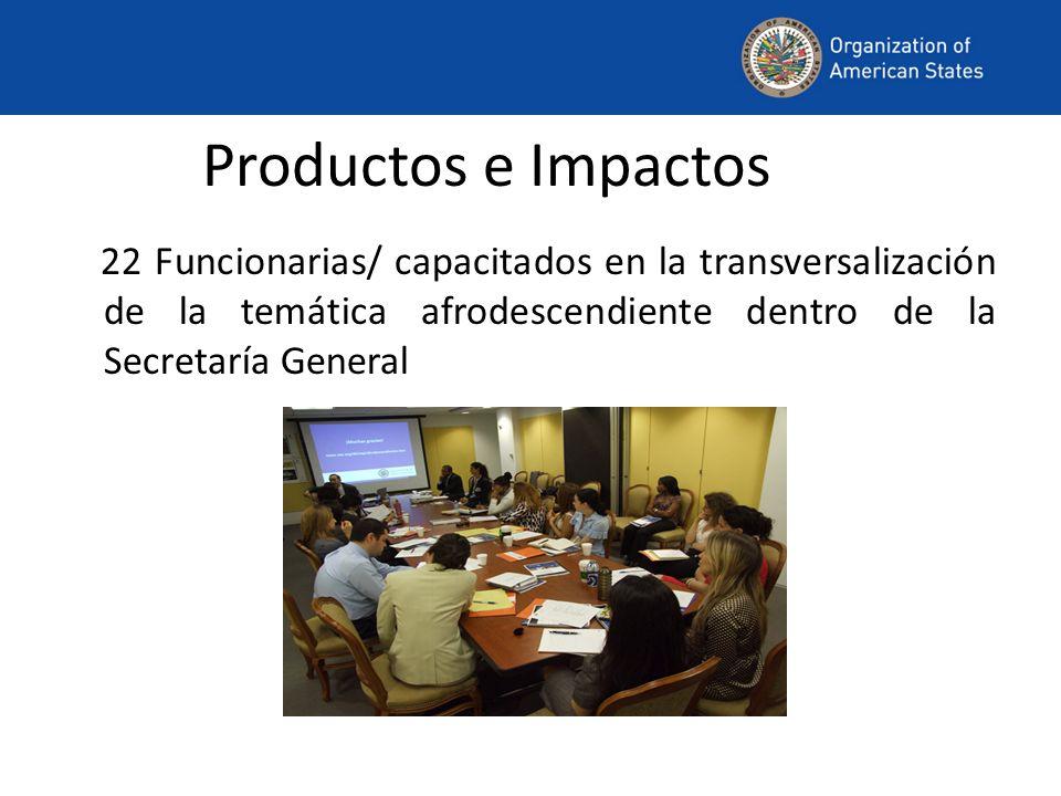 Productos e Impactos 22 Funcionarias/ capacitados en la transversalización de la temática afrodescendiente dentro de la Secretaría General