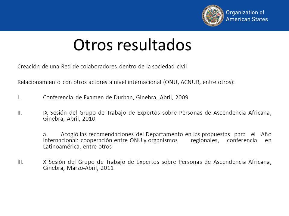 Otros resultados Creación de una Red de colaboradores dentro de la sociedad civil Relacionamiento con otros actores a nivel internacional (ONU, ACNUR,