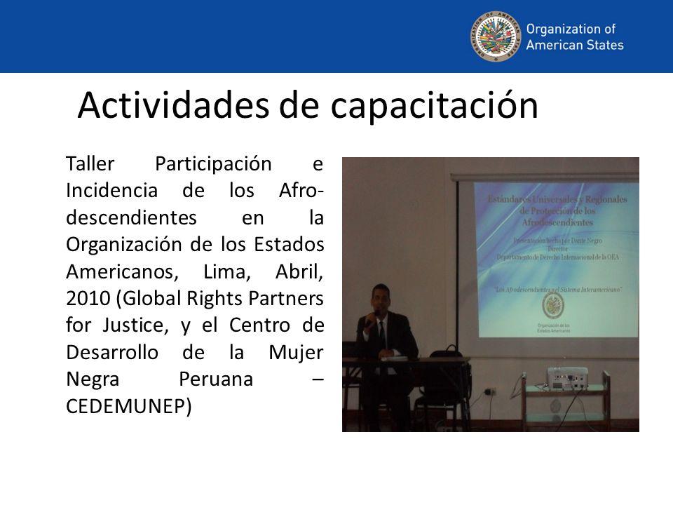 Actividades de capacitación Taller Participación e Incidencia de los Afro- descendientes en la Organización de los Estados Americanos, Lima, Abril, 2010 (Global Rights Partners for Justice, y el Centro de Desarrollo de la Mujer Negra Peruana – CEDEMUNEP)