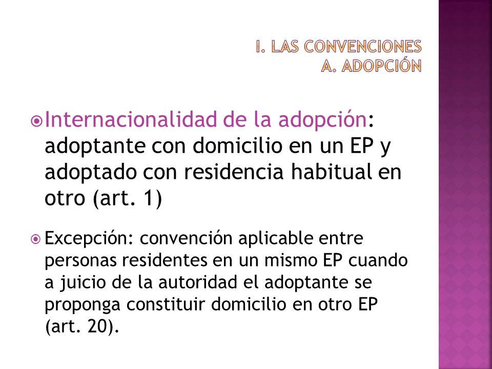 Internacionalidad de la adopción: adoptante con domicilio en un EP y adoptado con residencia habitual en otro (art. 1) Excepción: convención aplicable