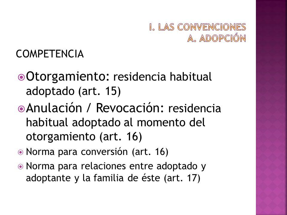 COMPETENCIA Otorgamiento: residencia habitual adoptado (art. 15) Anulación / Revocación: residencia habitual adoptado al momento del otorgamiento (art