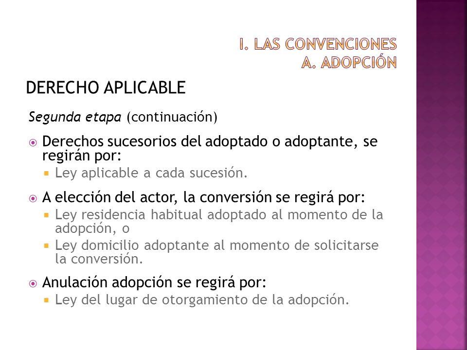 DERECHO APLICABLE Segunda etapa (continuación) Derechos sucesorios del adoptado o adoptante, se regirán por: Ley aplicable a cada sucesión. A elección