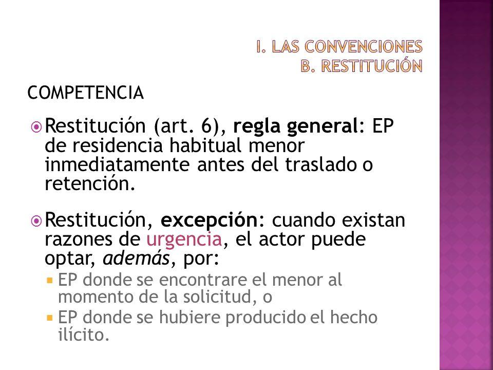 COMPETENCIA Restitución (art. 6), regla general: EP de residencia habitual menor inmediatamente antes del traslado o retención. Restitución, excepción
