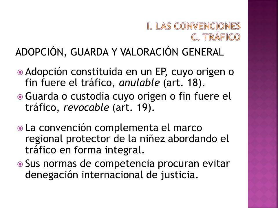 ADOPCIÓN, GUARDA Y VALORACIÓN GENERAL Adopción constituida en un EP, cuyo origen o fin fuere el tráfico, anulable (art. 18). Guarda o custodia cuyo or