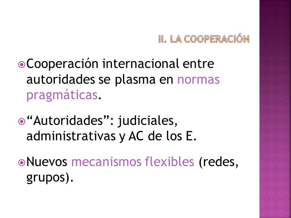 Cooperación internacional entre autoridades se plasma en normas pragmáticas. Autoridades: judiciales, administrativas y AC de los E. Nuevos mecanismos