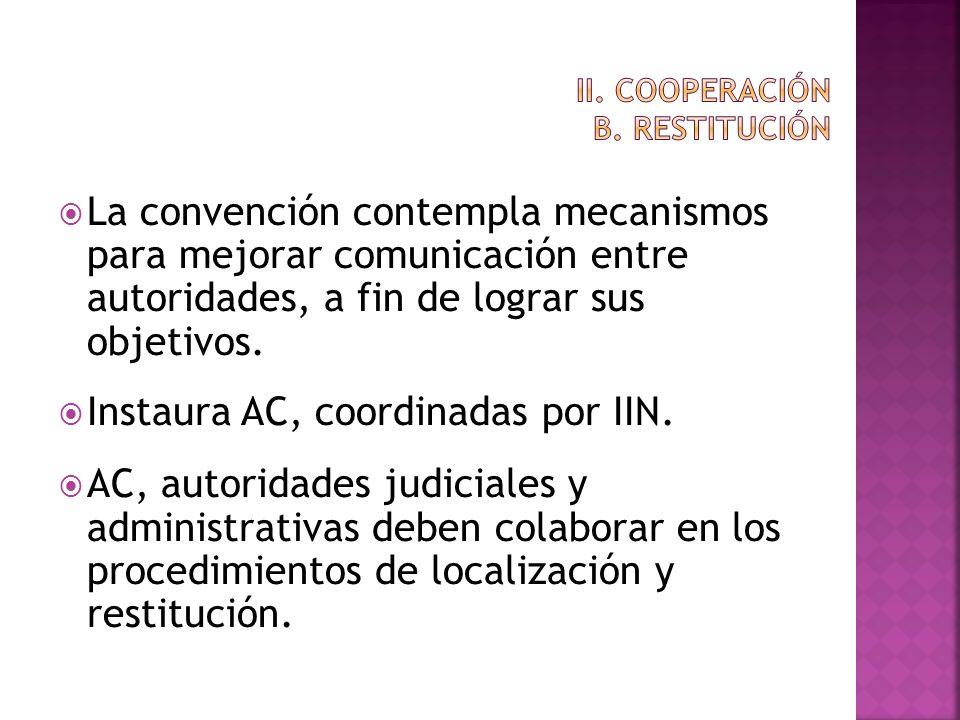 La convención contempla mecanismos para mejorar comunicación entre autoridades, a fin de lograr sus objetivos. Instaura AC, coordinadas por IIN. AC, a