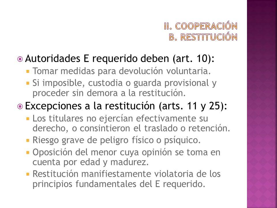 Autoridades E requerido deben (art. 10): Tomar medidas para devolución voluntaria. Si imposible, custodia o guarda provisional y proceder sin demora a