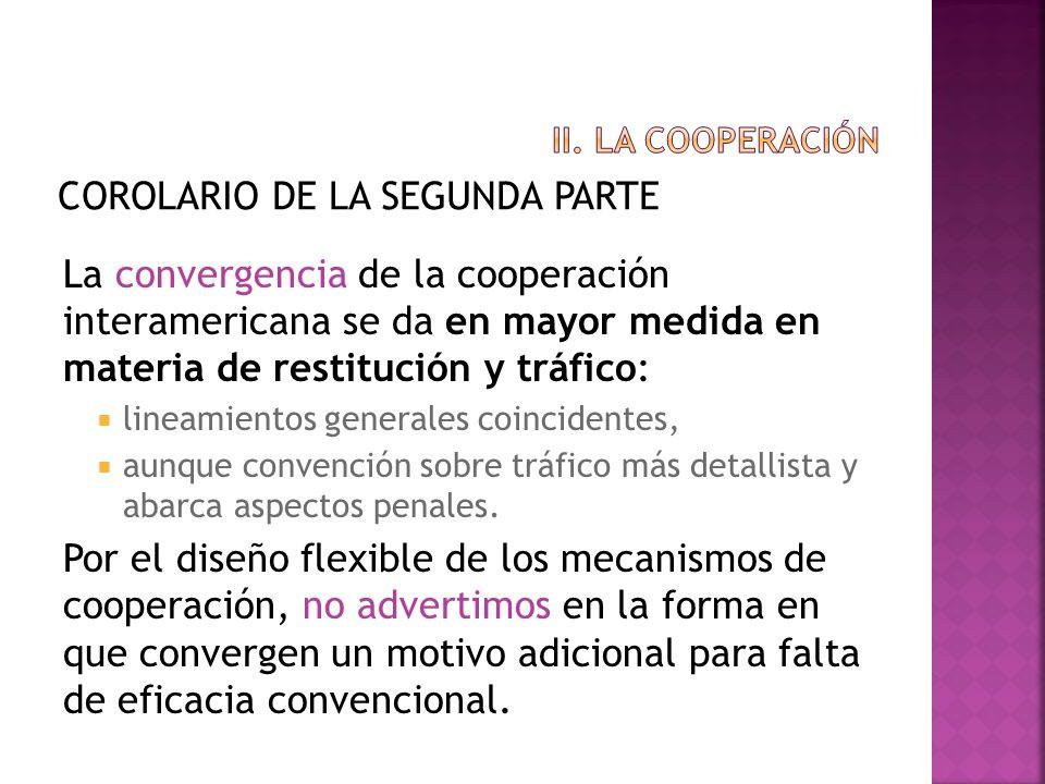 COROLARIO DE LA SEGUNDA PARTE La convergencia de la cooperación interamericana se da en mayor medida en materia de restitución y tráfico: lineamientos