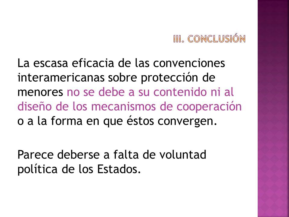 La escasa eficacia de las convenciones interamericanas sobre protección de menores no se debe a su contenido ni al diseño de los mecanismos de coopera