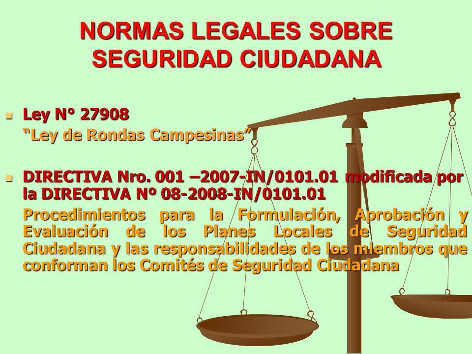 NORMAS LEGALES SOBRE SEGURIDAD CIUDADANA Ley N° 27908 Ley N° 27908 Ley de Rondas Campesinas DIRECTIVA Nro. 001 –2007-IN/0101.01 modificada por la DIRE
