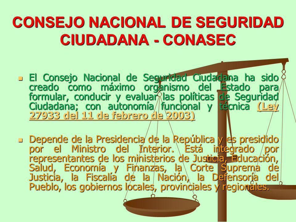 CONSEJO NACIONAL DE SEGURIDAD CIUDADANA - CONASEC El Consejo Nacional de Seguridad Ciudadana ha sido creado como máximo organismo del Estado para form