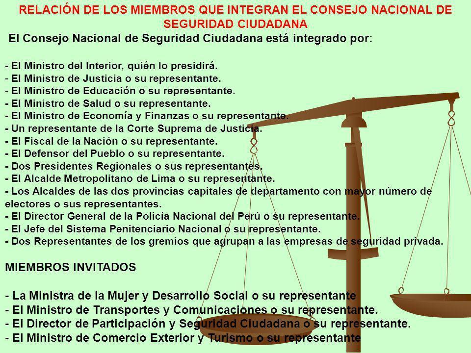 RELACIÓN DE LOS MIEMBROS QUE INTEGRAN EL CONSEJO NACIONAL DE SEGURIDAD CIUDADANA El Consejo Nacional de Seguridad Ciudadana está integrado por: - El M
