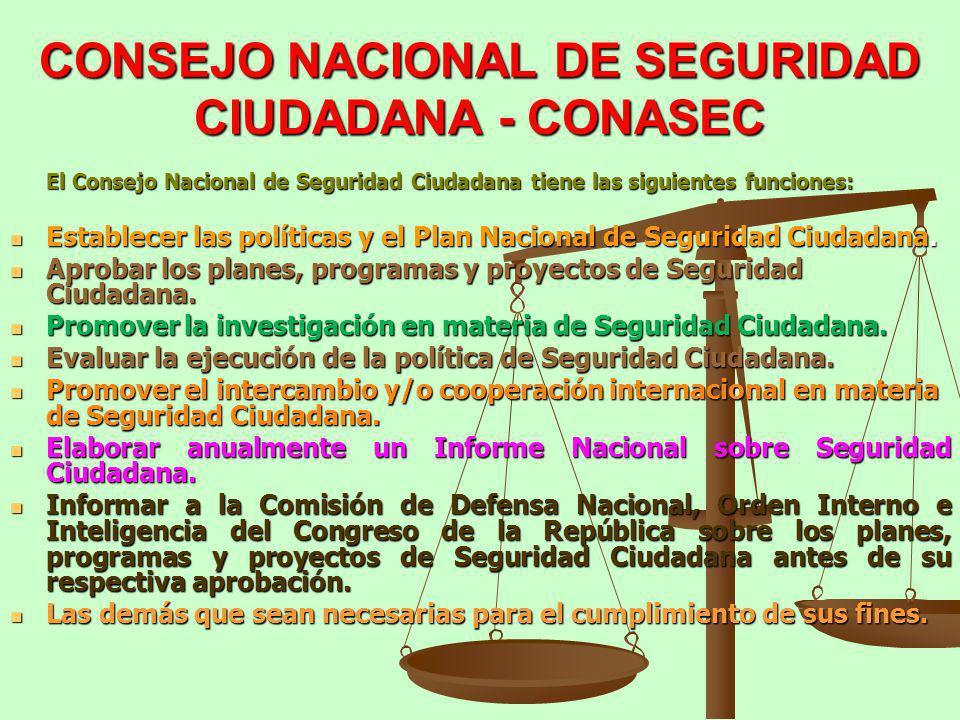CONSEJO NACIONAL DE SEGURIDAD CIUDADANA - CONASEC El Consejo Nacional de Seguridad Ciudadana tiene las siguientes funciones: Establecer las políticas