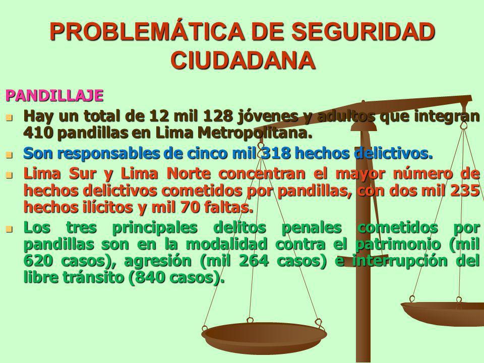PROBLEMÁTICA DE SEGURIDAD CIUDADANA PANDILLAJE Hay un total de 12 mil 128 jóvenes y adultos que integran 410 pandillas en Lima Metropolitana. Hay un t