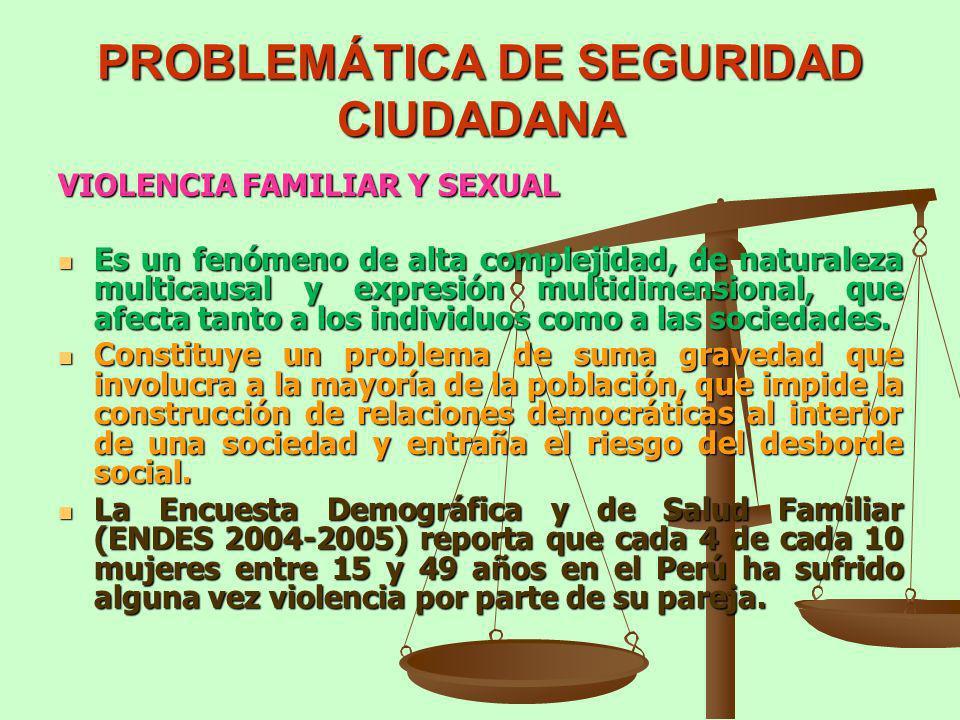 PROBLEMÁTICA DE SEGURIDAD CIUDADANA VIOLENCIA FAMILIAR Y SEXUAL Es un fenómeno de alta complejidad, de naturaleza multicausal y expresión multidimensi