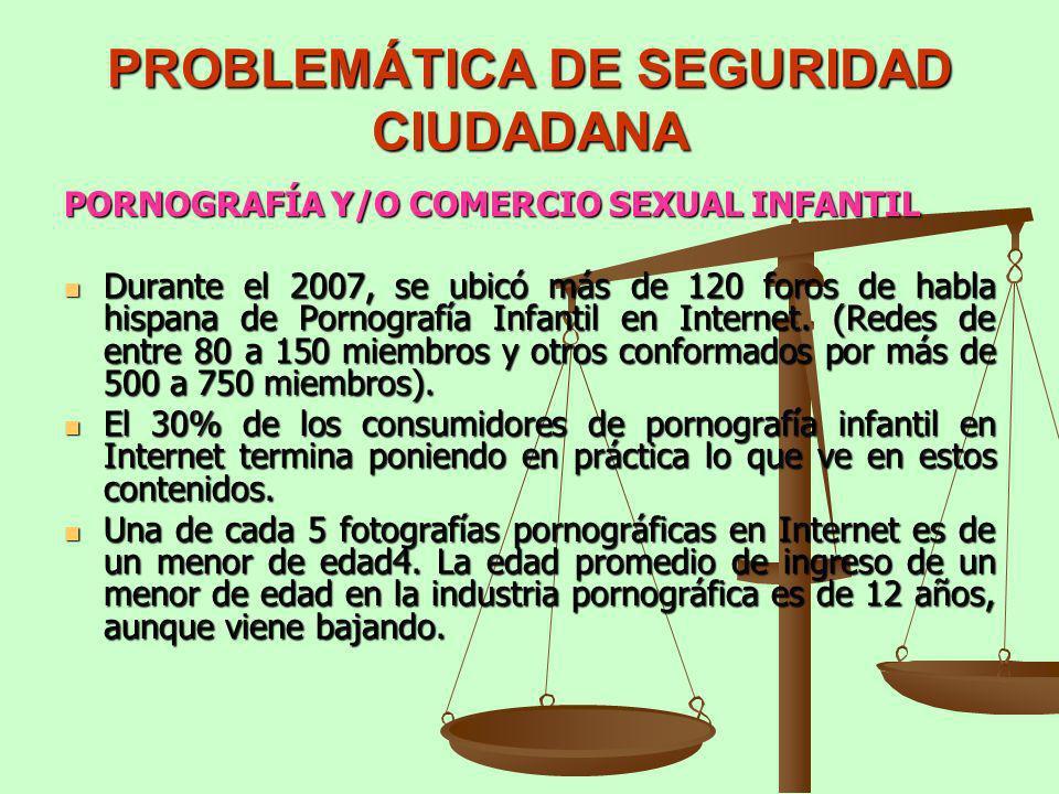 PROBLEMÁTICA DE SEGURIDAD CIUDADANA PORNOGRAFÍA Y/O COMERCIO SEXUAL INFANTIL Durante el 2007, se ubicó más de 120 foros de habla hispana de Pornografí