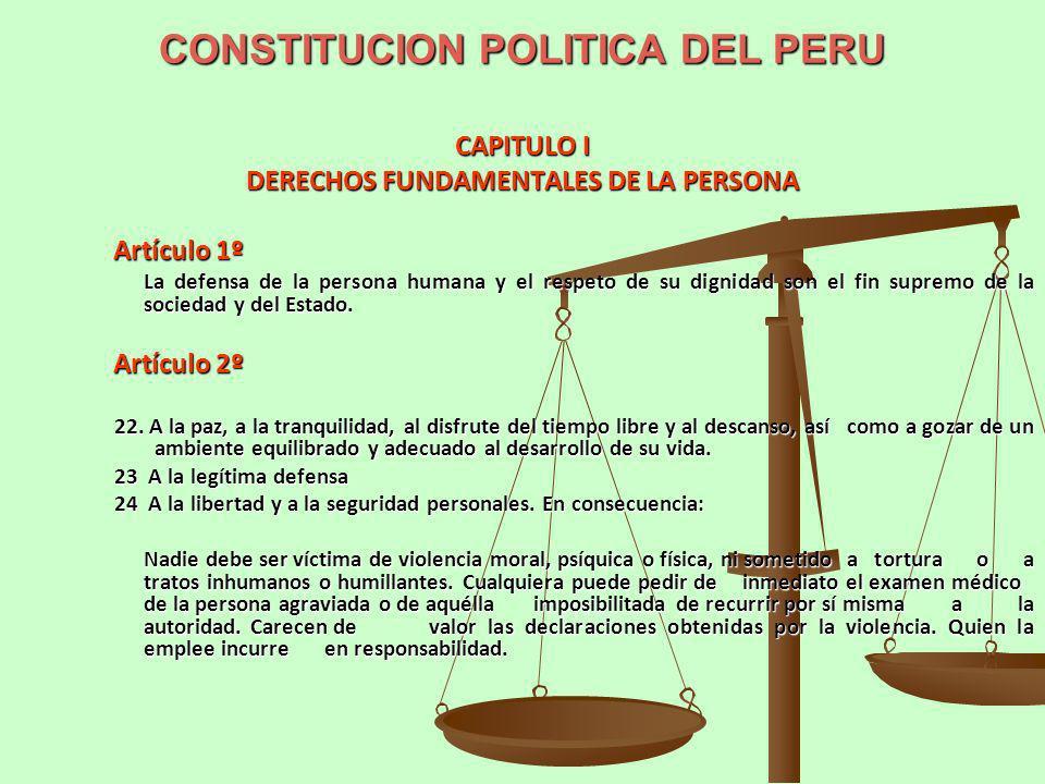 CONSTITUCION POLITICA DEL PERU CAPITULO I DERECHOS FUNDAMENTALES DE LA PERSONA Artículo 1º La defensa de la persona humana y el respeto de su dignidad
