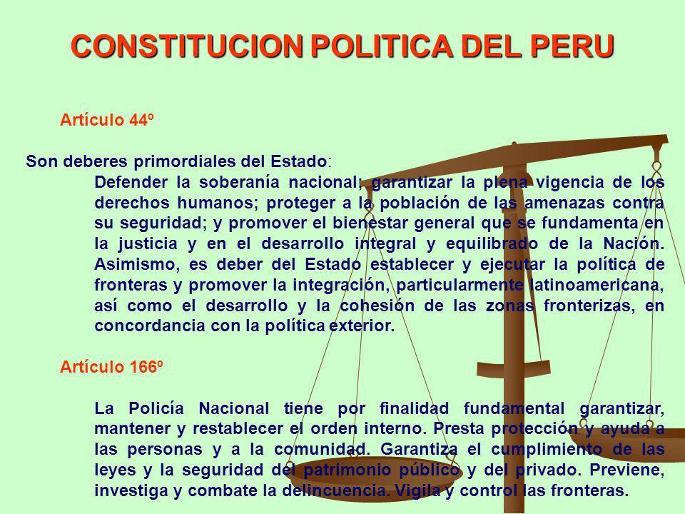 Artículo 44º Son deberes primordiales del Estado: Defender la soberanía nacional; garantizar la plena vigencia de los derechos humanos; proteger a la
