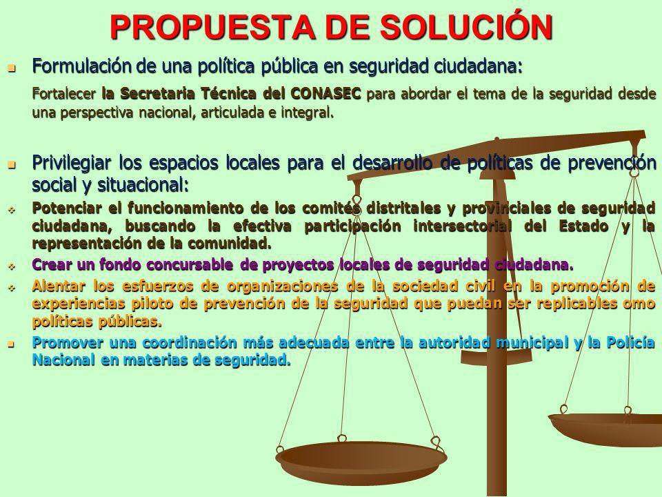 PROPUESTA DE SOLUCIÓN Formulación de una política pública en seguridad ciudadana: Formulación de una política pública en seguridad ciudadana: Fortalec