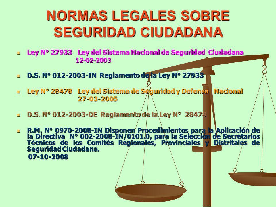 NORMAS LEGALES SOBRE SEGURIDAD CIUDADANA Ley N° 27933 Ley del Sistema Nacional de Seguridad Ciudadana Ley N° 27933 Ley del Sistema Nacional de Segurid