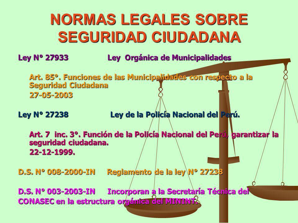 NORMAS LEGALES SOBRE SEGURIDAD CIUDADANA Ley N° 27933Ley Orgánica de Municipalidades Art. 85°. Funciones de las Municipalidades con respecto a la Segu