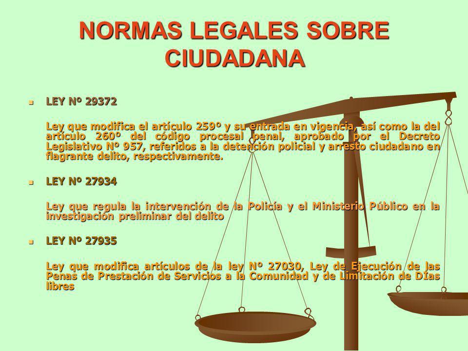 NORMAS LEGALES SOBRE CIUDADANA LEY Nº 29372 LEY Nº 29372 Ley que modifica el artículo 259º y su entrada en vigencia, así como la del artículo 260º del