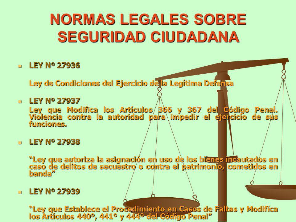NORMAS LEGALES SOBRE SEGURIDAD CIUDADANA LEY Nº 27936 LEY Nº 27936 Ley de Condiciones del Ejercicio de la Legítima Defensa LEY Nº 27937 LEY Nº 27937 L