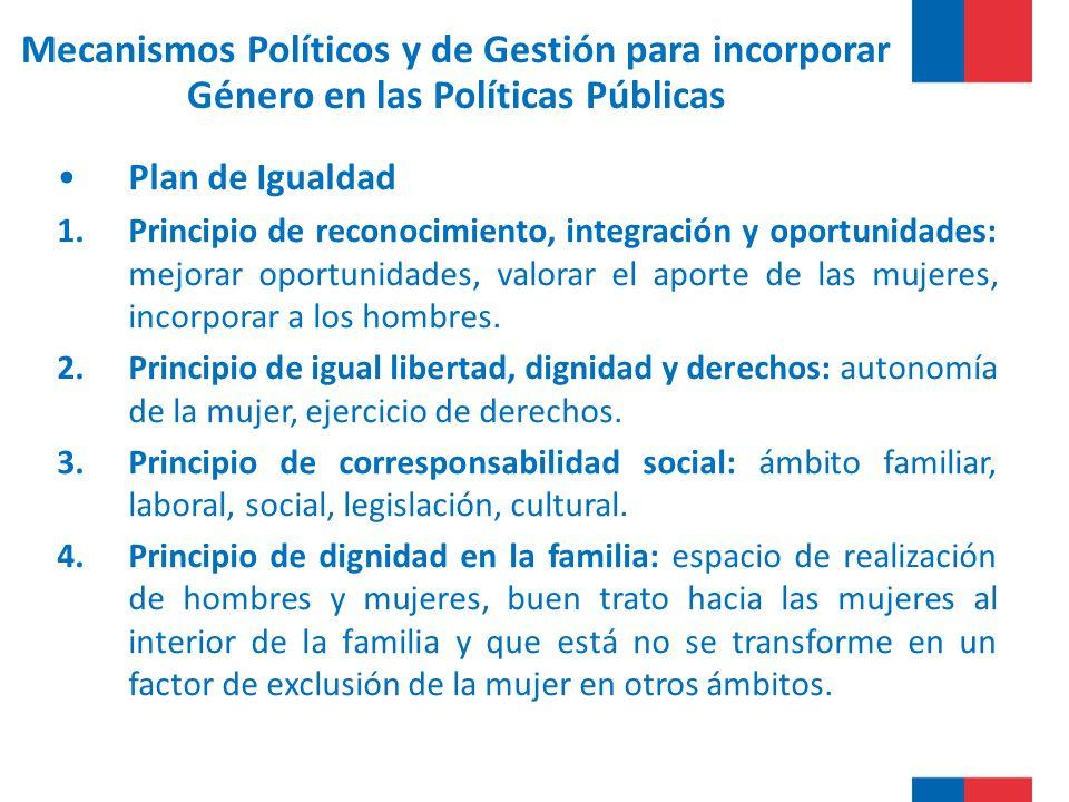 Mecanismos Políticos y de Gestión para incorporar Género en las Políticas Públicas Plan de Igualdad 1.Principio de reconocimiento, integración y oportunidades: mejorar oportunidades, valorar el aporte de las mujeres, incorporar a los hombres.
