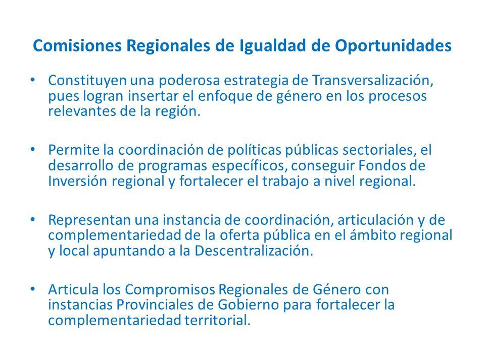 Comisiones Regionales de Igualdad de Oportunidades Constituyen una poderosa estrategia de Transversalización, pues logran insertar el enfoque de género en los procesos relevantes de la región.