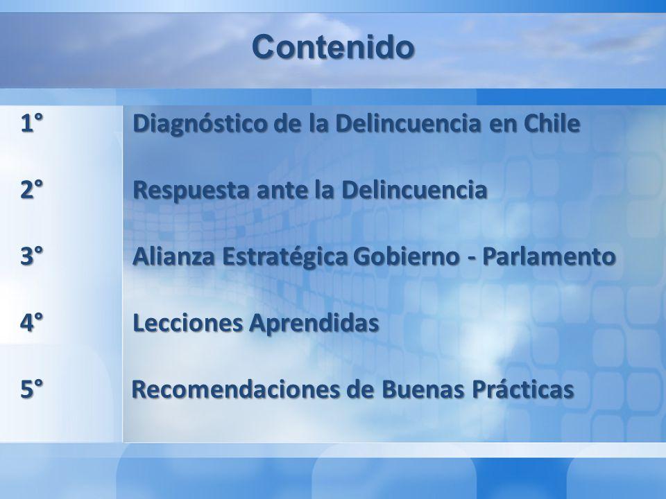 Contenido 1° Diagnóstico de la Delincuencia en Chile 2° Respuesta ante la Delincuencia 3° Alianza Estratégica Gobierno - Parlamento 4° Lecciones Aprendidas 5° Recomendaciones de Buenas Prácticas