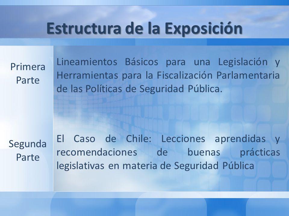 Segunda Parte: El Caso de Chile: Lecciones aprendidas y recomendaciones de buenas prácticas legislativas en materia de Seguridad Pública 1° Lecciones Aprendidas 2° Recomendaciones de Buenas Prácticas Legislativas Estructura de la Exposición Lineamientos Básicos para una Legislación y Herramientas para la Fiscalización Parlamentaria de las Políticas de Seguridad Pública.