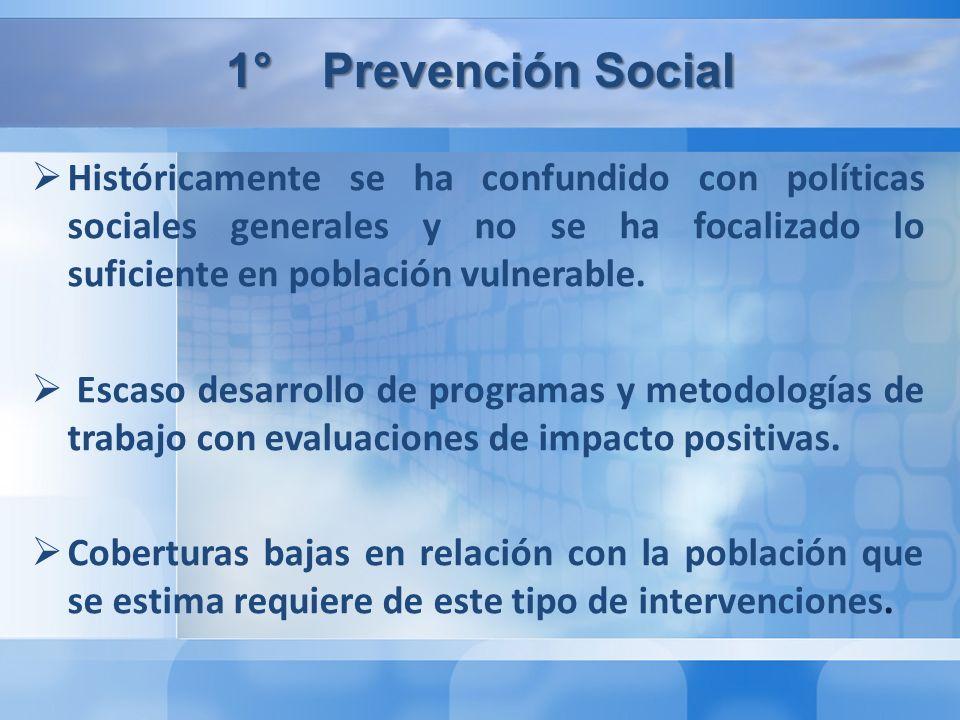 1°Prevención Social Históricamente se ha confundido con políticas sociales generales y no se ha focalizado lo suficiente en población vulnerable.