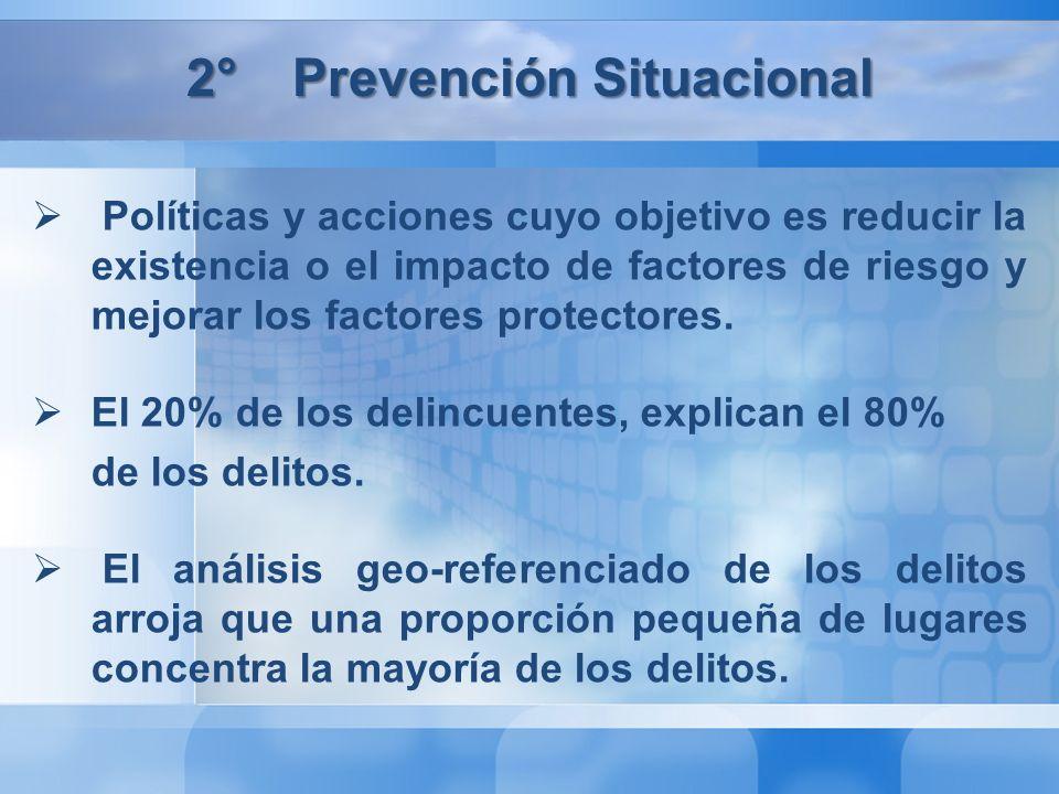 2°Prevención Situacional Políticas y acciones cuyo objetivo es reducir la existencia o el impacto de factores de riesgo y mejorar los factores protectores.