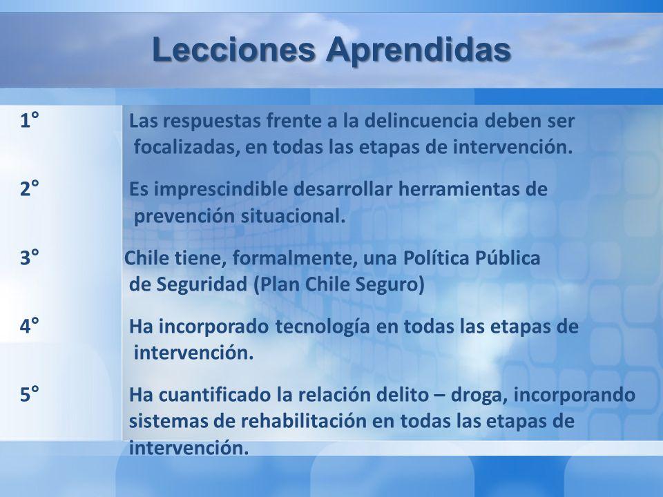Lecciones Aprendidas 1° Las respuestas frente a la delincuencia deben ser focalizadas, en todas las etapas de intervención.