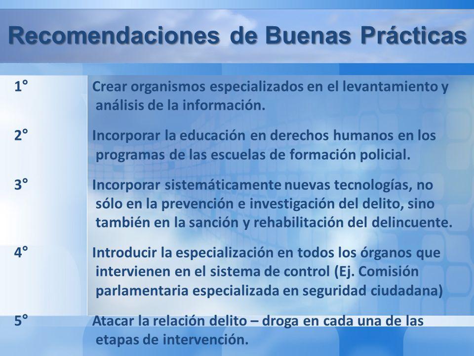 Recomendaciones de Buenas Prácticas 1° Crear organismos especializados en el levantamiento y análisis de la información.