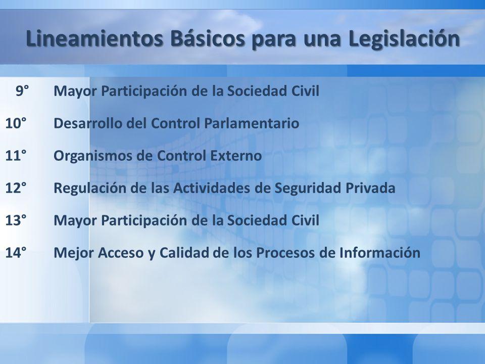 Segunda Parte: El Caso de Chile: Lecciones aprendidas y recomendaciones de buenas prácticas legislativas en materia de Seguridad Pública 1° Lecciones Aprendidas 2° Recomendaciones de Buenas Prácticas Legislativas Lineamientos Básicos para una Legislación 9° Mayor Participación de la Sociedad Civil 10° Desarrollo del Control Parlamentario 11° Organismos de Control Externo 12° Regulación de las Actividades de Seguridad Privada 13° Mayor Participación de la Sociedad Civil 14°Mejor Acceso y Calidad de los Procesos de Información