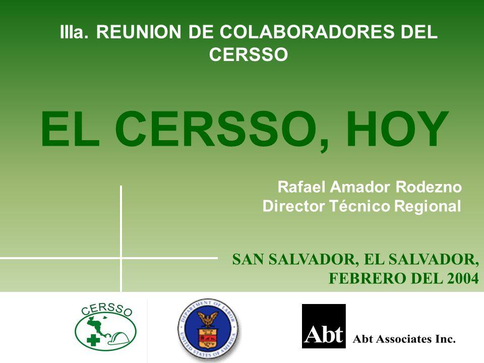 IIIa. REUNION DE COLABORADORES DEL CERSSO EL CERSSO, HOY Rafael Amador Rodezno Director Técnico Regional SAN SALVADOR, EL SALVADOR, FEBRERO DEL 2004