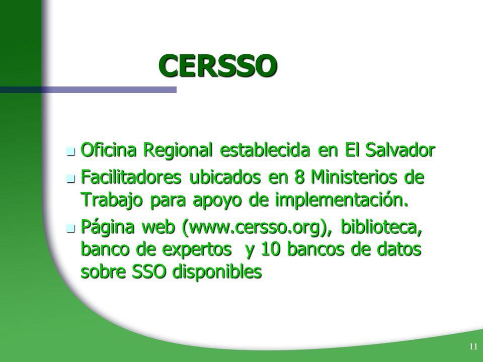 11 CERSSO Oficina Regional establecida en El Salvador Oficina Regional establecida en El Salvador Facilitadores ubicados en 8 Ministerios de Trabajo p