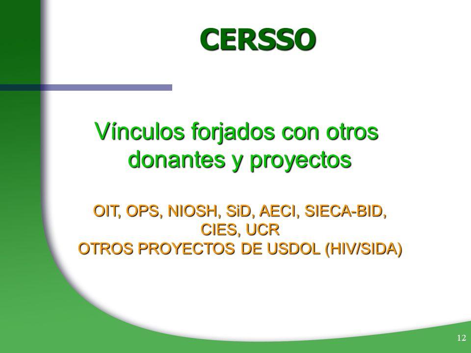 12 Vínculos forjados con otros donantes y proyectos OIT, OPS, NIOSH, SiD, AECI, SIECA-BID, CIES, UCR OTROS PROYECTOS DE USDOL (HIV/SIDA) CERSSO