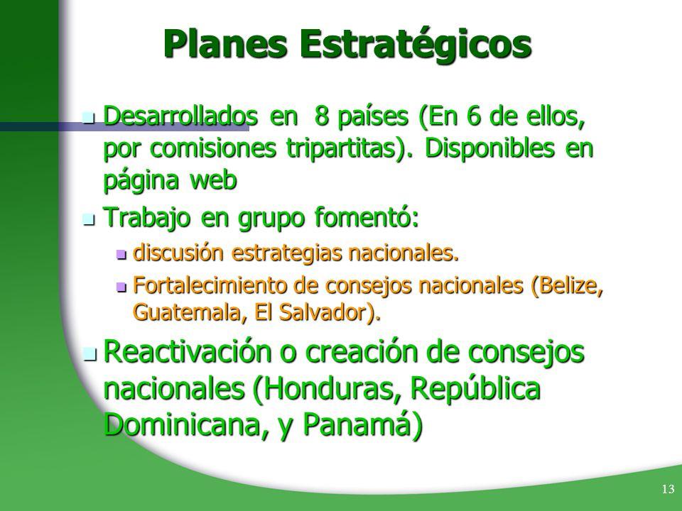 13 Planes Estratégicos Desarrollados en 8 países (En 6 de ellos, por comisiones tripartitas). Disponibles en página web Desarrollados en 8 países (En