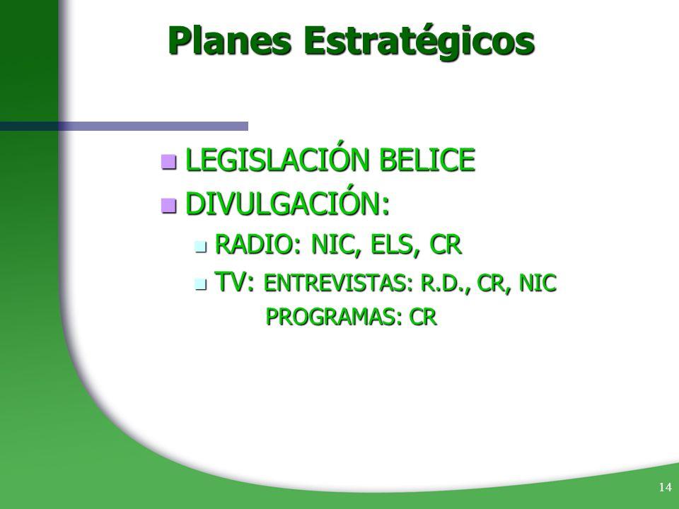 14 Planes Estratégicos LEGISLACIÓN BELICE LEGISLACIÓN BELICE DIVULGACIÓN: DIVULGACIÓN: RADIO: NIC, ELS, CR RADIO: NIC, ELS, CR TV: ENTREVISTAS: R.D.,