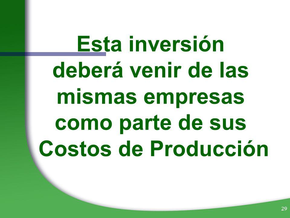 29 Esta inversión deberá venir de las mismas empresas como parte de sus Costos de Producción