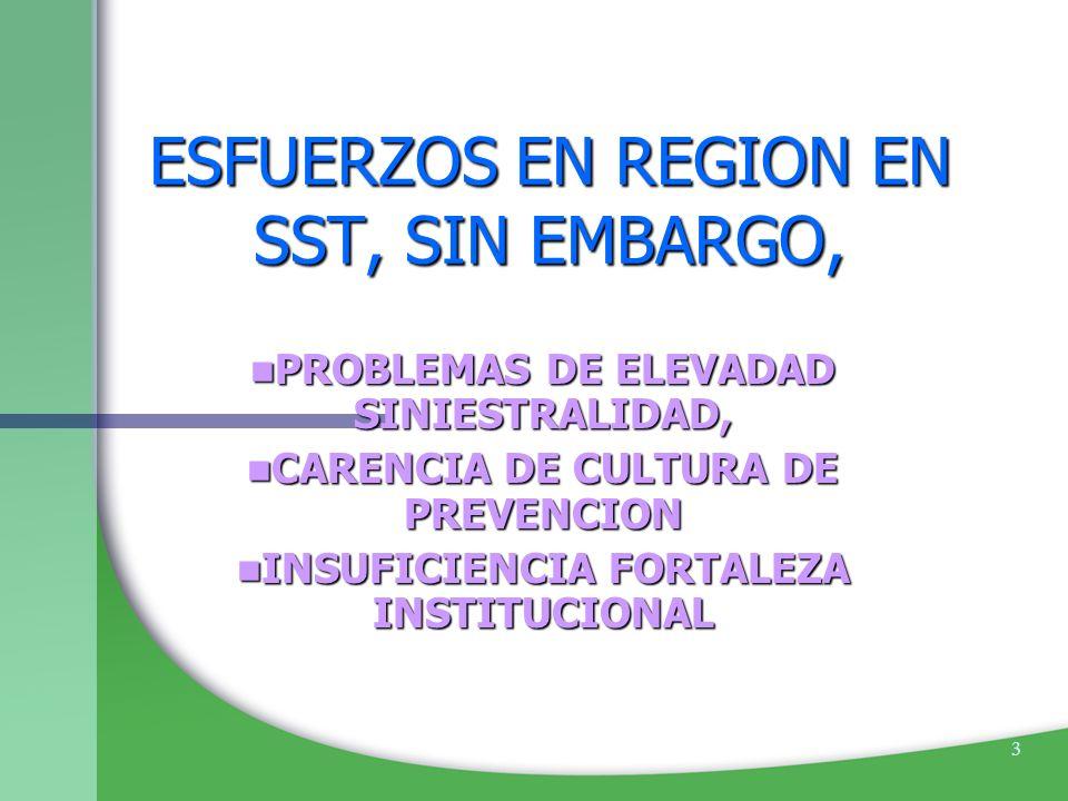 3 ESFUERZOS EN REGION EN SST, SIN EMBARGO, PROBLEMAS DE ELEVADAD SINIESTRALIDAD, PROBLEMAS DE ELEVADAD SINIESTRALIDAD, CARENCIA DE CULTURA DE PREVENCI
