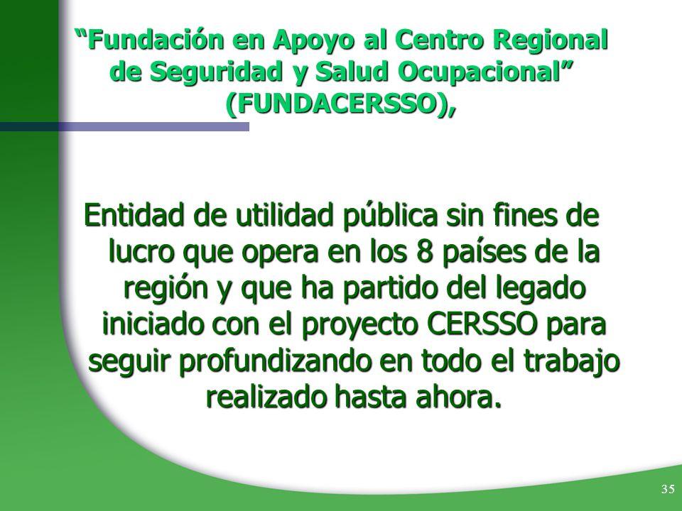 35 Fundación en Apoyo al Centro Regional de Seguridad y Salud Ocupacional (FUNDACERSSO), Entidad de utilidad pública sin fines de lucro que opera en l