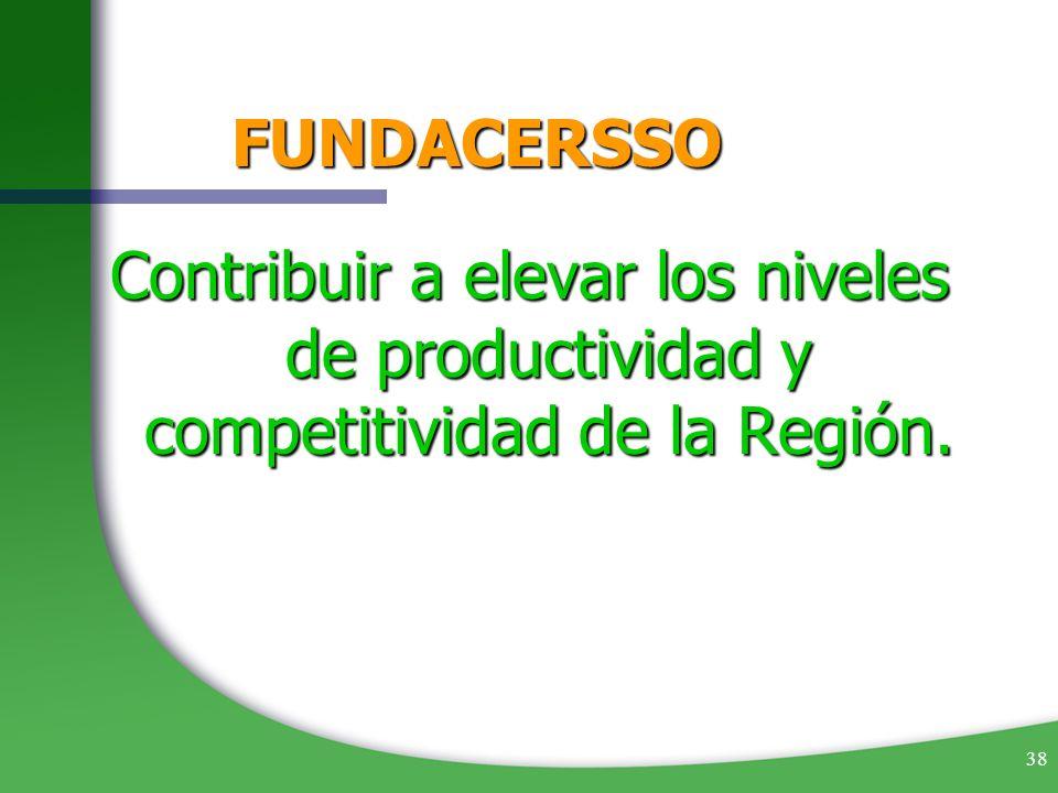 38 FUNDACERSSO Contribuir a elevar los niveles de productividad y competitividad de la Región.