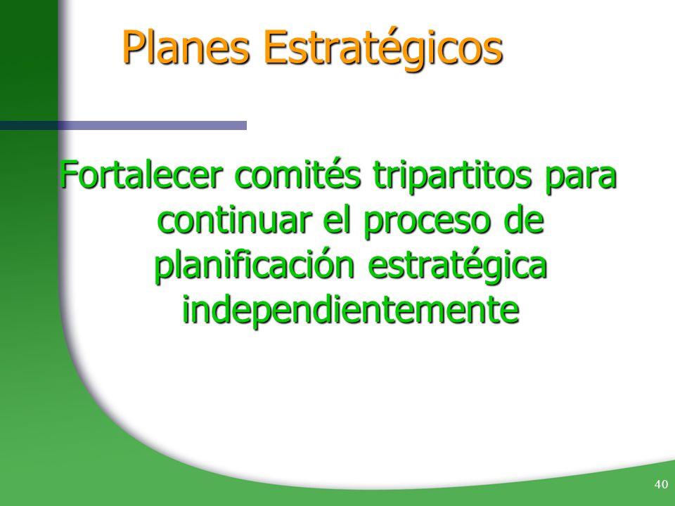 40 Planes Estratégicos Fortalecer comités tripartitos para continuar el proceso de planificación estratégica independientemente
