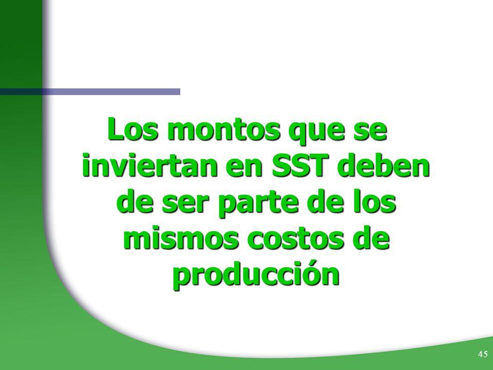 45 Los montos que se inviertan en SST deben de ser parte de los mismos costos de producción