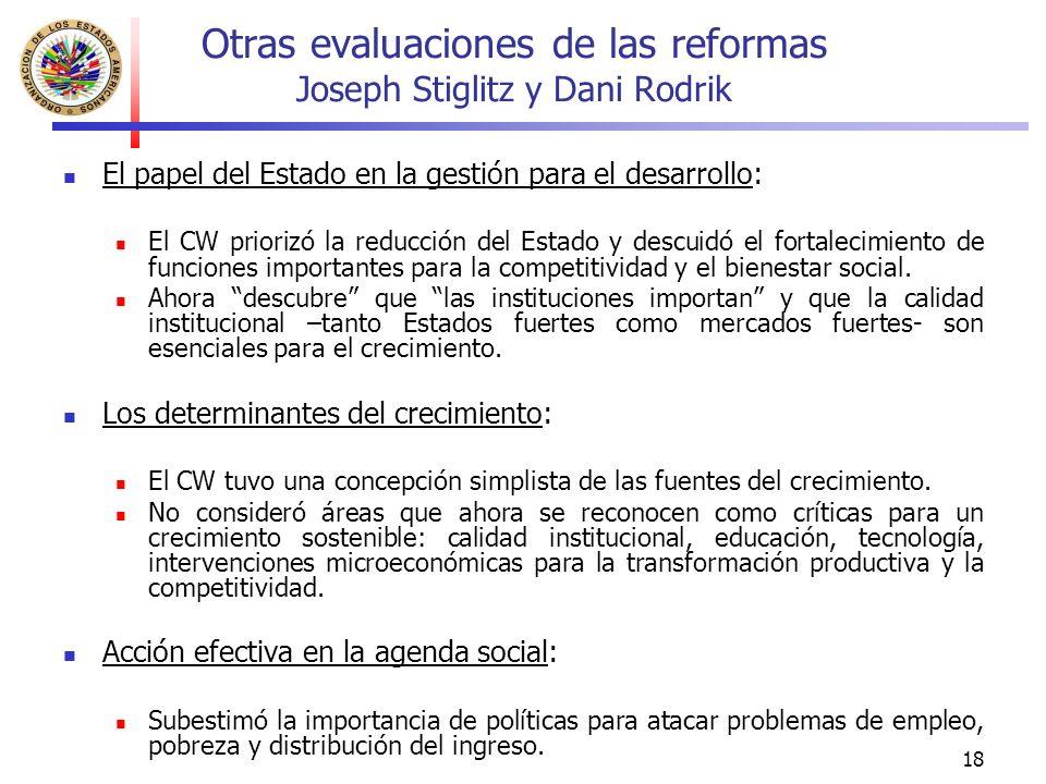 18 Otras evaluaciones de las reformas Joseph Stiglitz y Dani Rodrik El papel del Estado en la gestión para el desarrollo: El CW priorizó la reducción del Estado y descuidó el fortalecimiento de funciones importantes para la competitividad y el bienestar social.